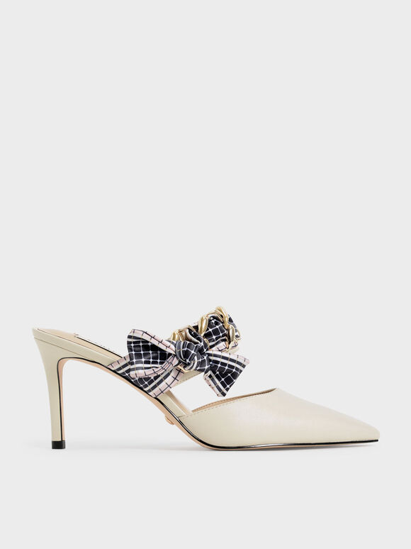 Printed Fabric Bow Leather Mules, Chalk, hi-res