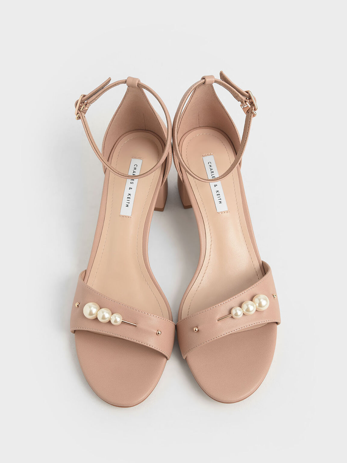 Embellished Block Heel Sandals, Nude, hi-res