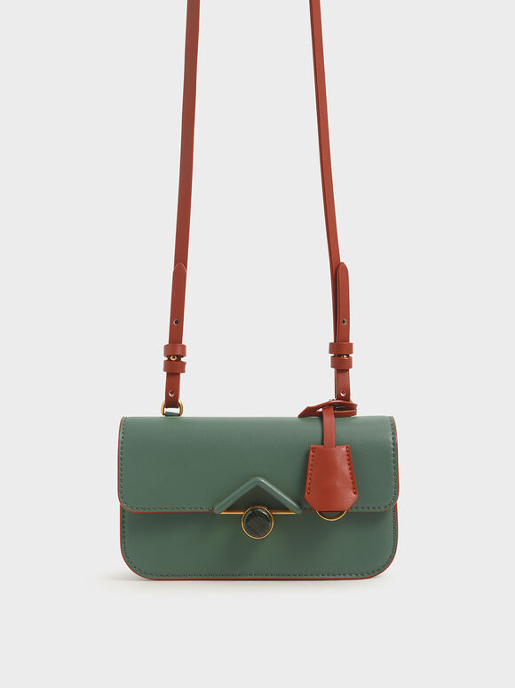 Stone-Embellished Crossbody Bag, Green, hi-res