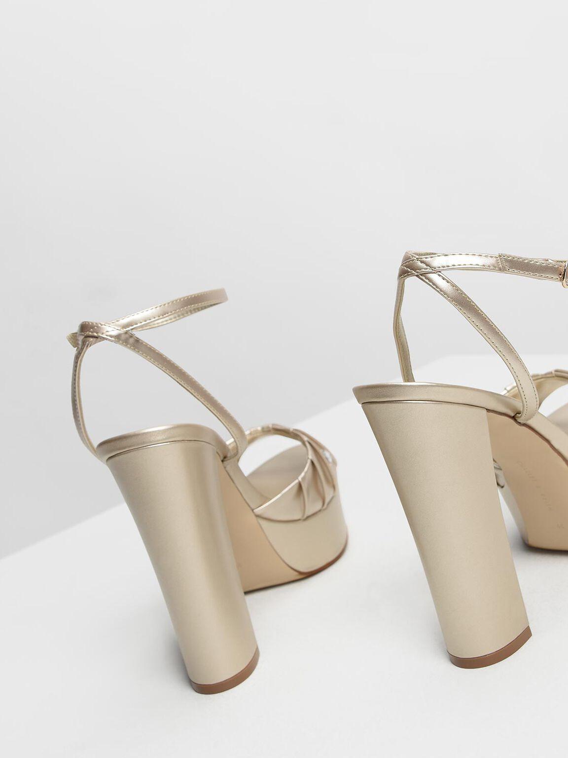 Bejeweled Platform Heels, Gold, hi-res