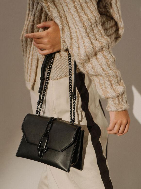 Metallic Accent Crossbody Bag, Black, hi-res