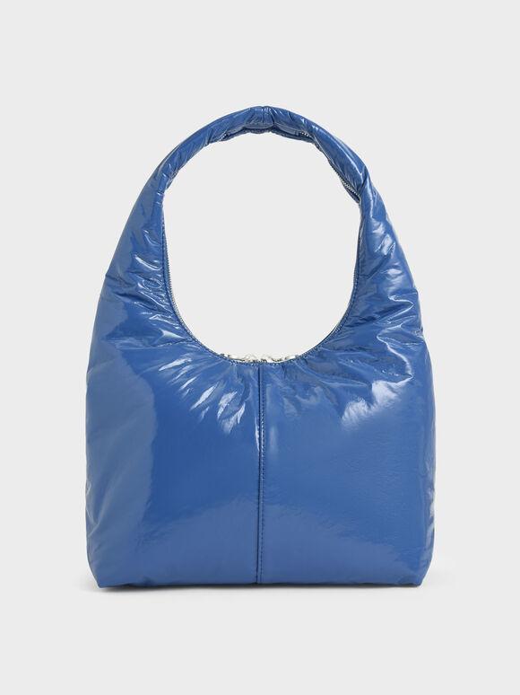 Wrinkled-Effect Large Hobo Bag, Blue, hi-res