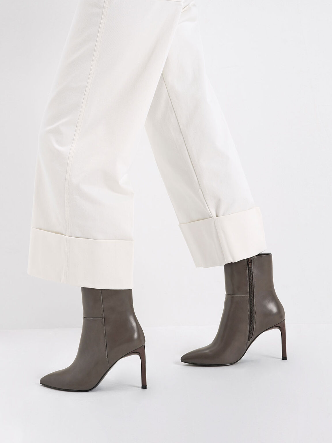 Side Zip Stiletto Ankle Boots, Taupe, hi-res