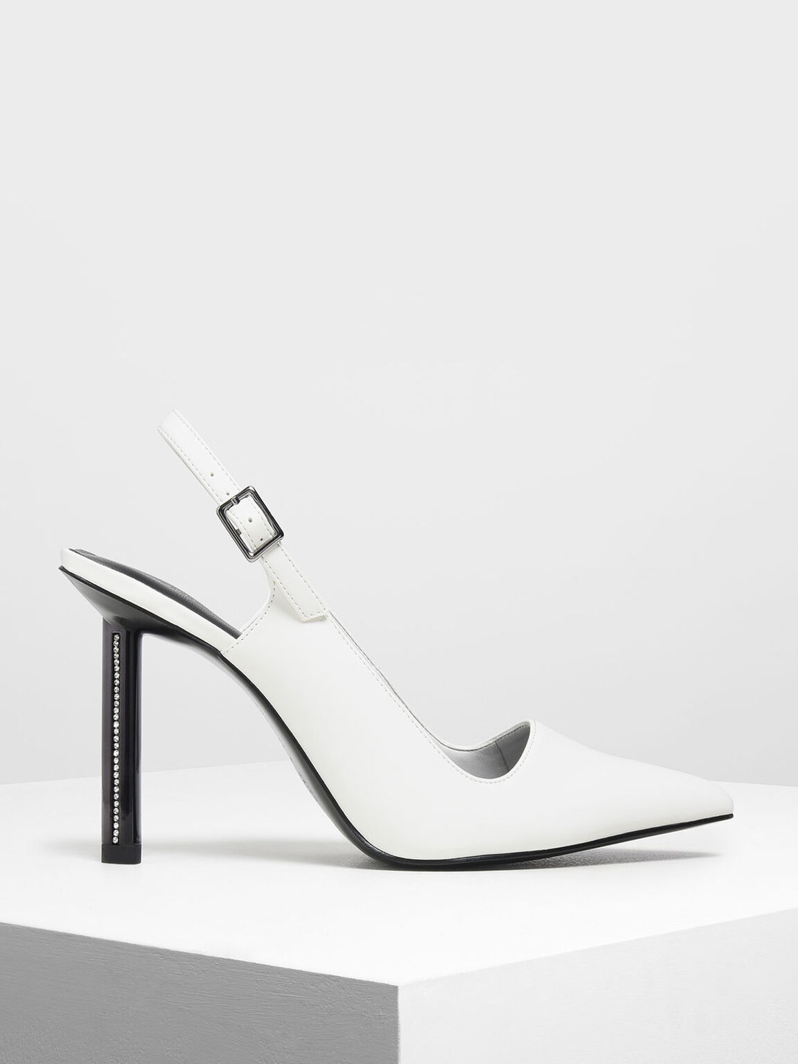 Gem Encrusted Blade Heel Pumps, White, hi-res