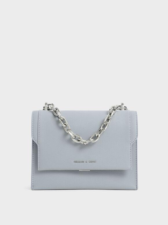 Front Flap Chain Handle Crossbody Bag, Steel Blue, hi-res