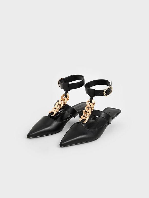 Chain Link Ankle Strap Pumps, Black, hi-res