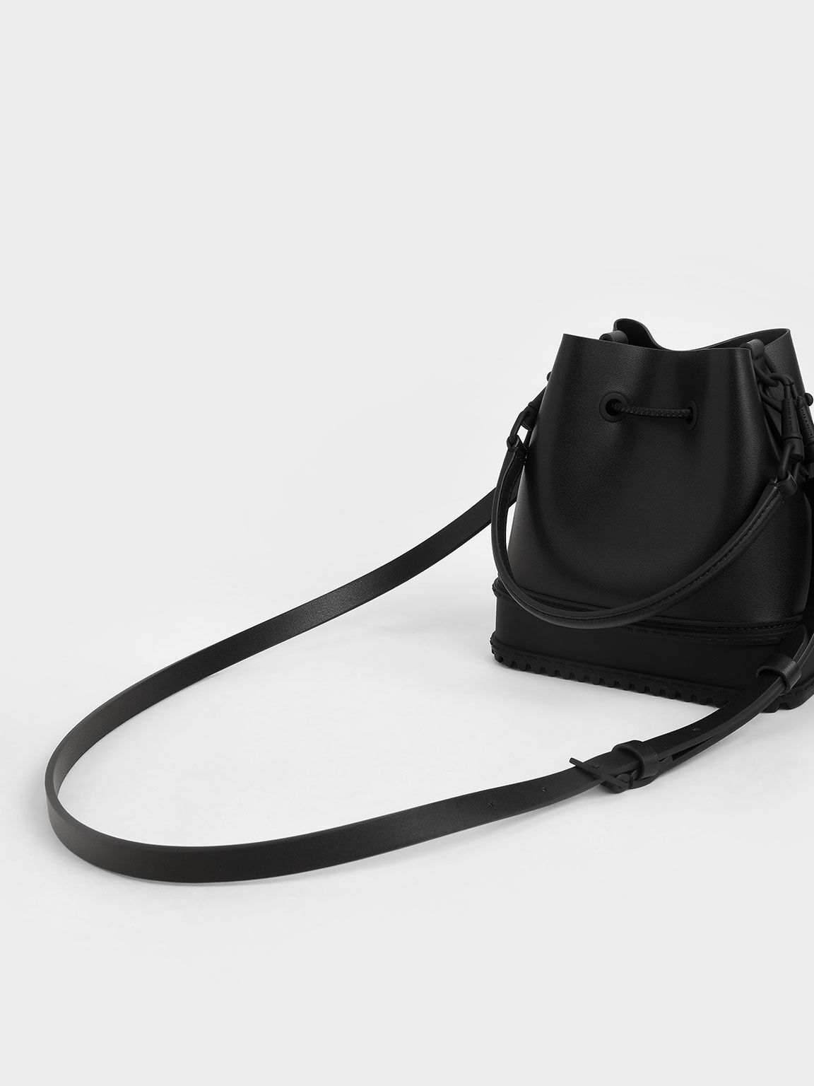 Drawstring Bucket Bag, Black, hi-res