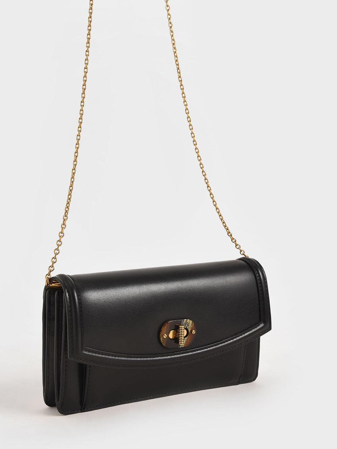 Stone-Embellished Curved Long Wallet, Black, hi-res