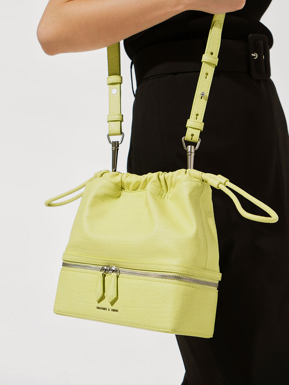 Croc-Effect Two-Way Zip Drawstring Bag, Lime, hi-res