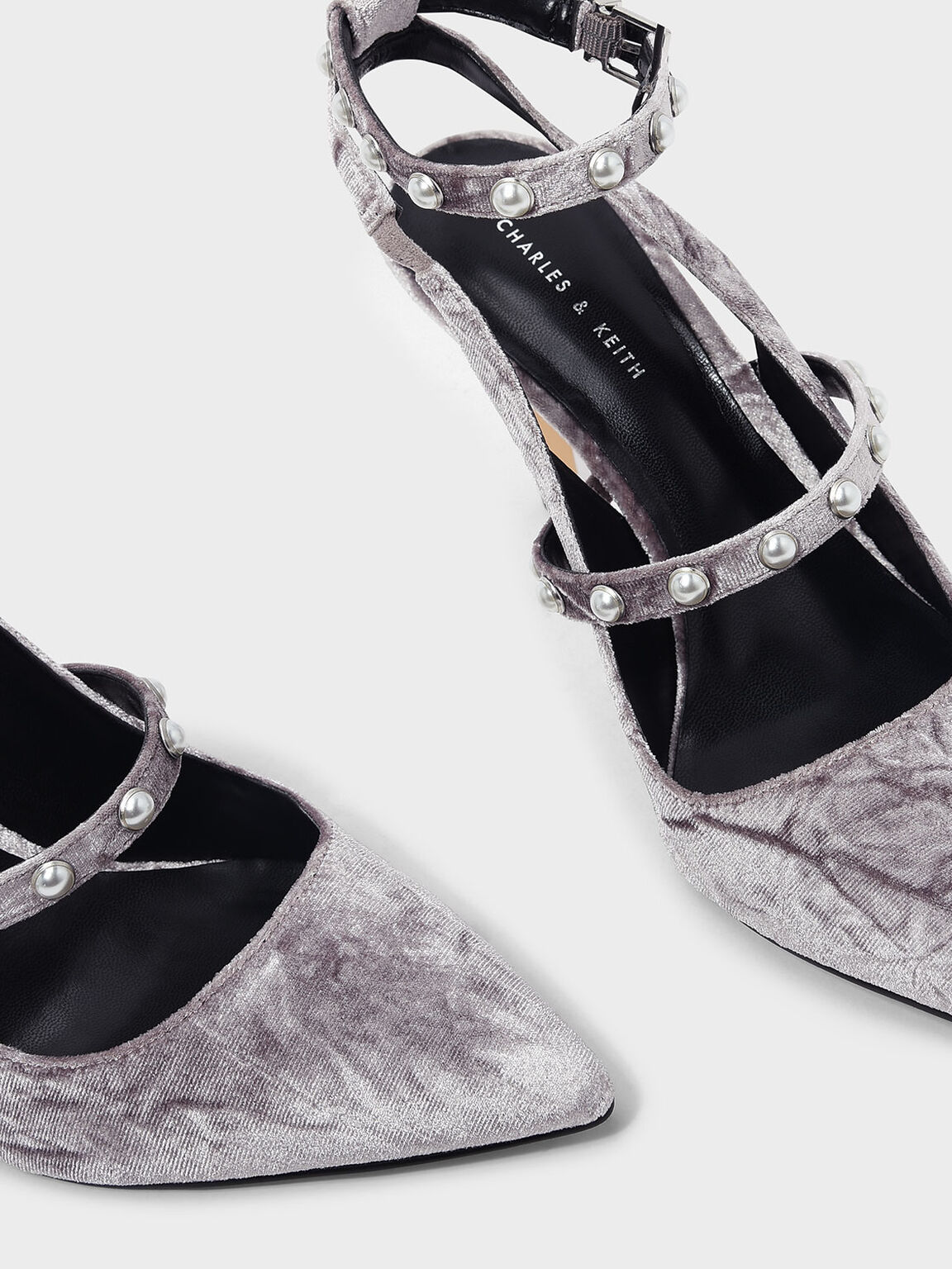 Pearl Detail Ankle Strap Heels, Grey, hi-res