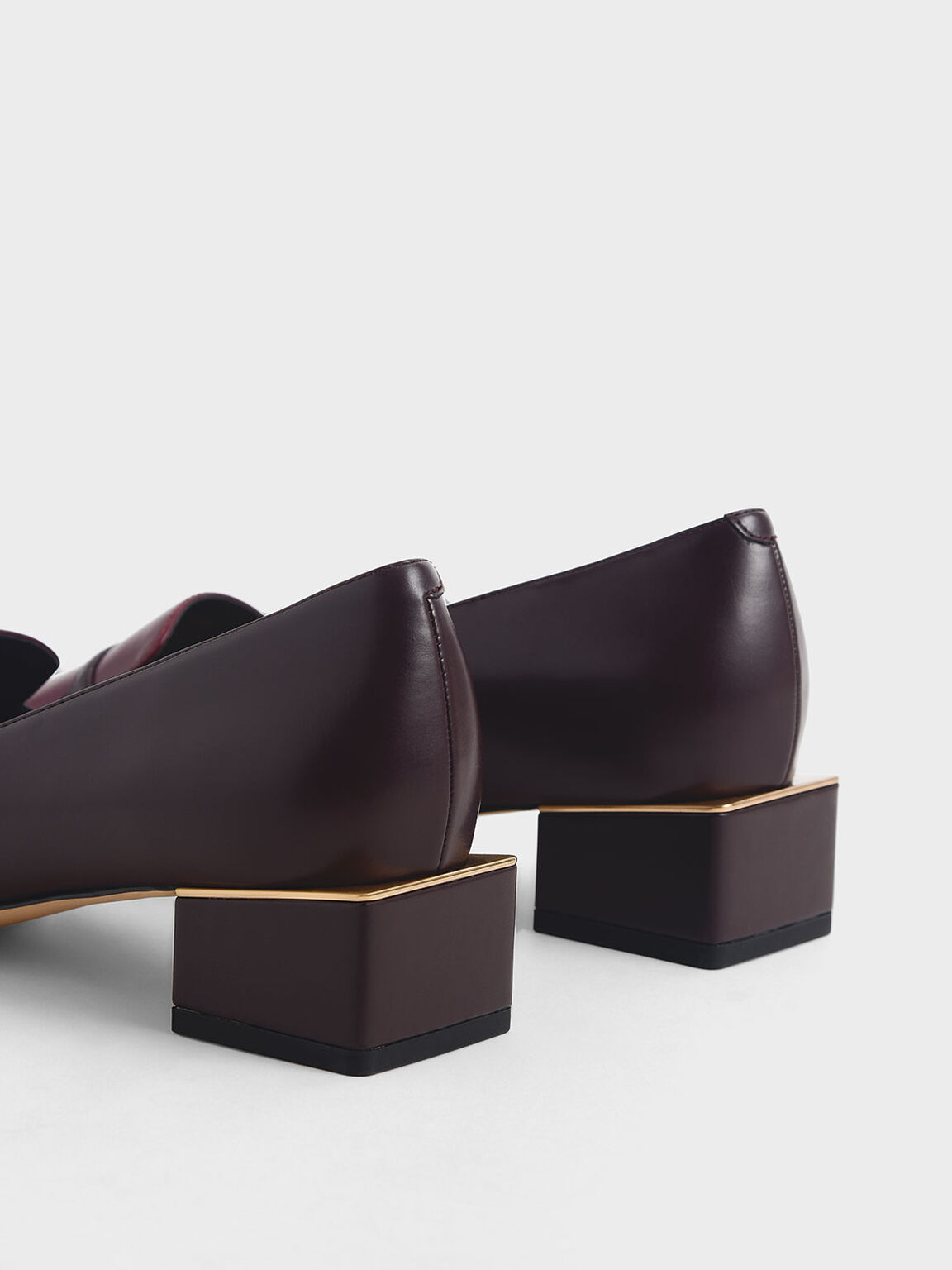 Block Heel Loafers, Burgundy, hi-res