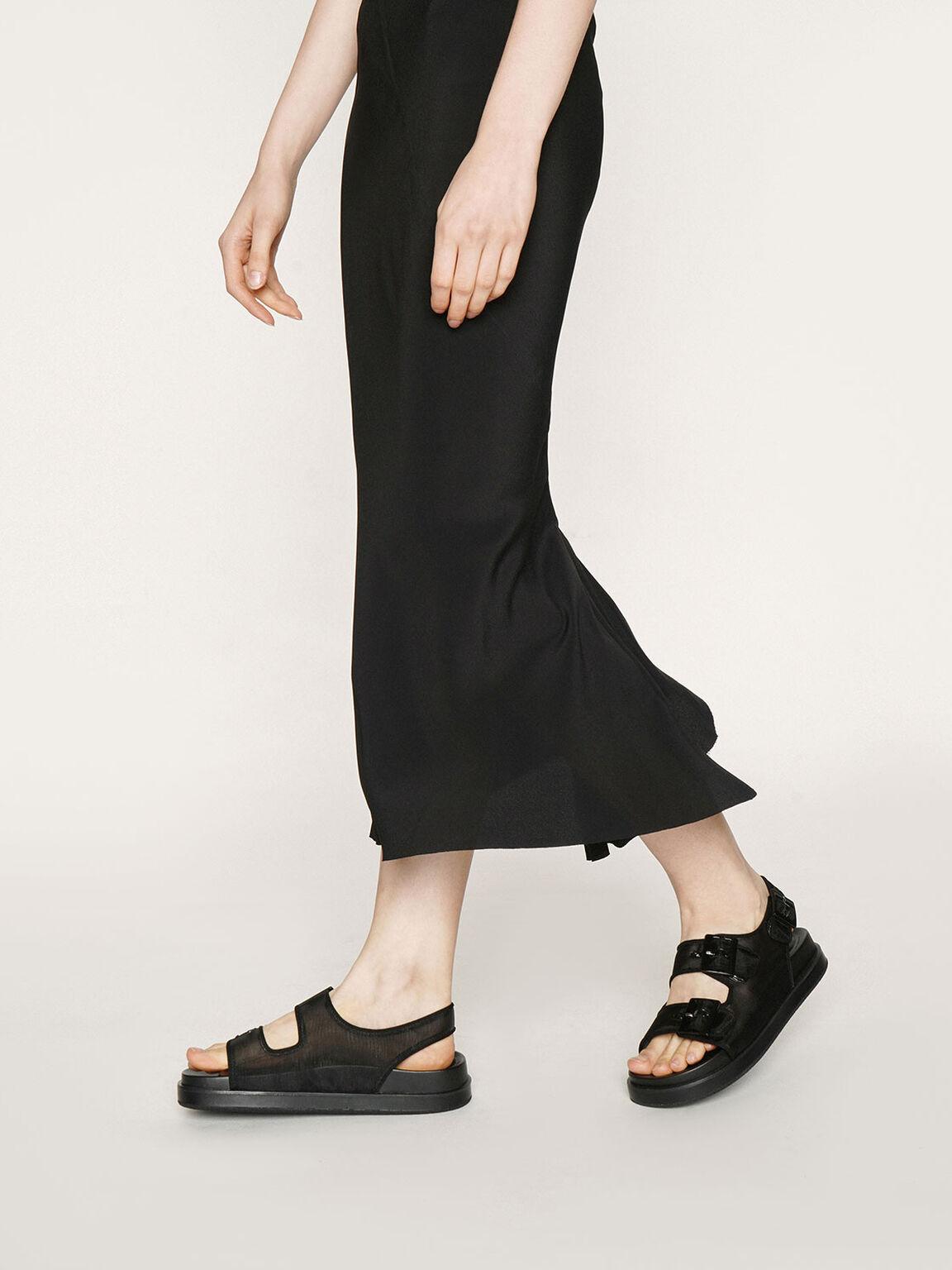 Mesh Flatform Sandals, Black, hi-res