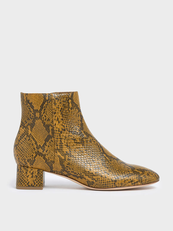 Snake Print Block Heel Ankle Boots, Yellow, hi-res