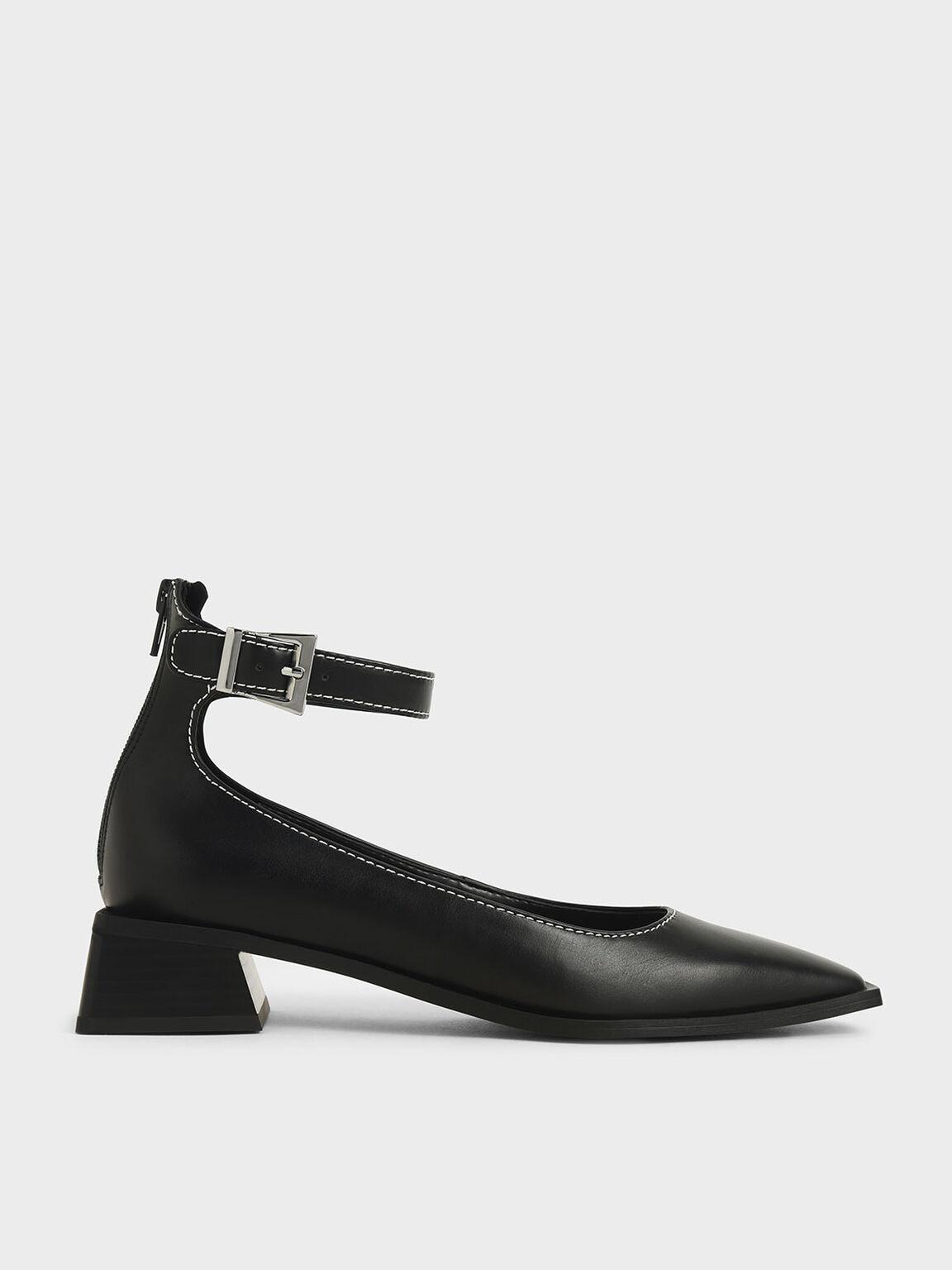 Ankle Strap Square Toe Pumps, Black, hi-res