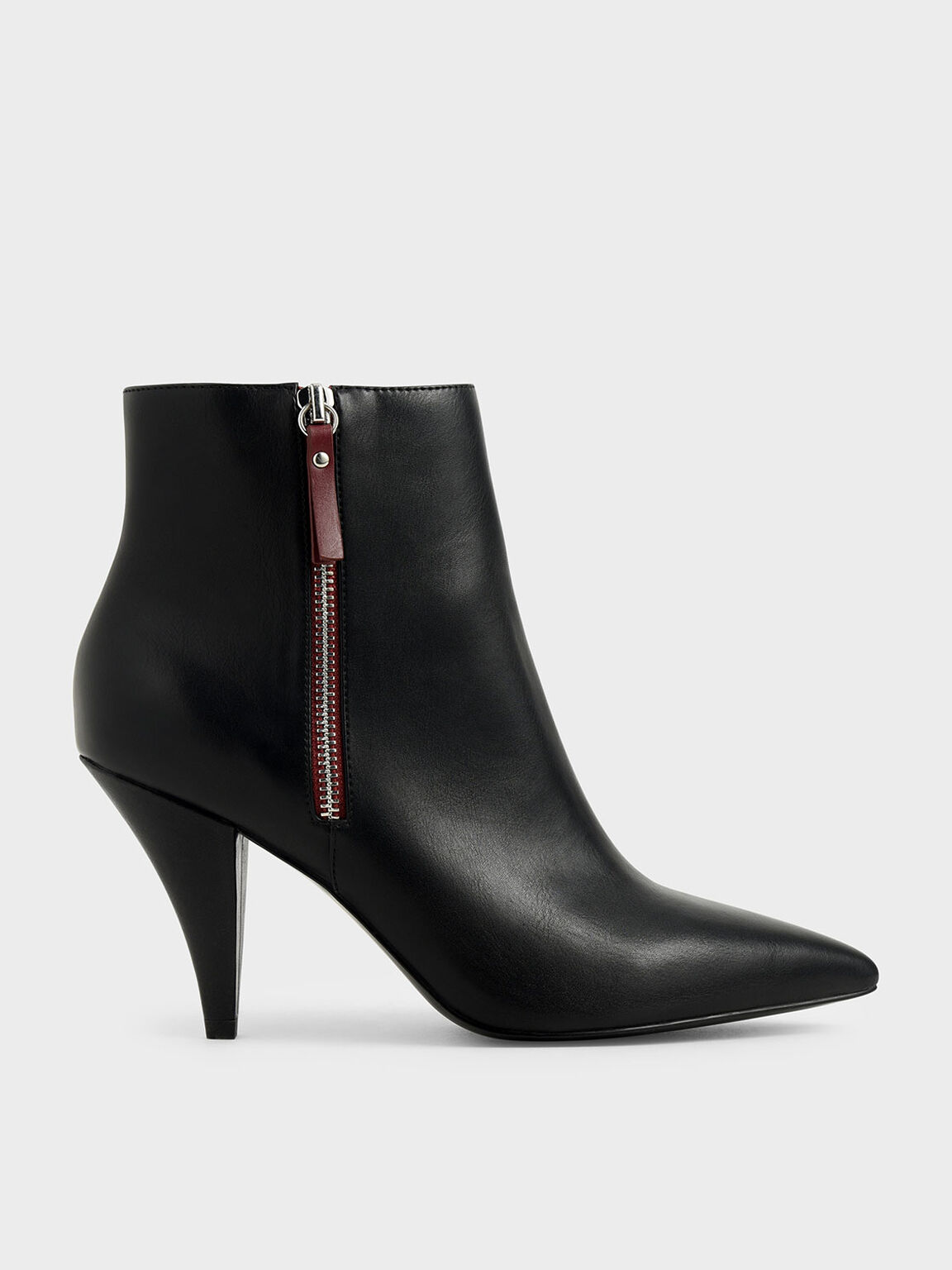 Double Zip Pointed Toe Ankle Boots, Black, hi-res