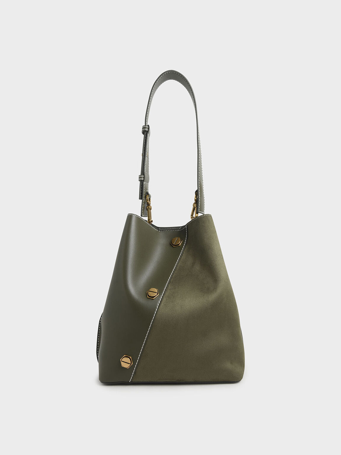 Studded Textured Hobo Bag, Olive, hi-res