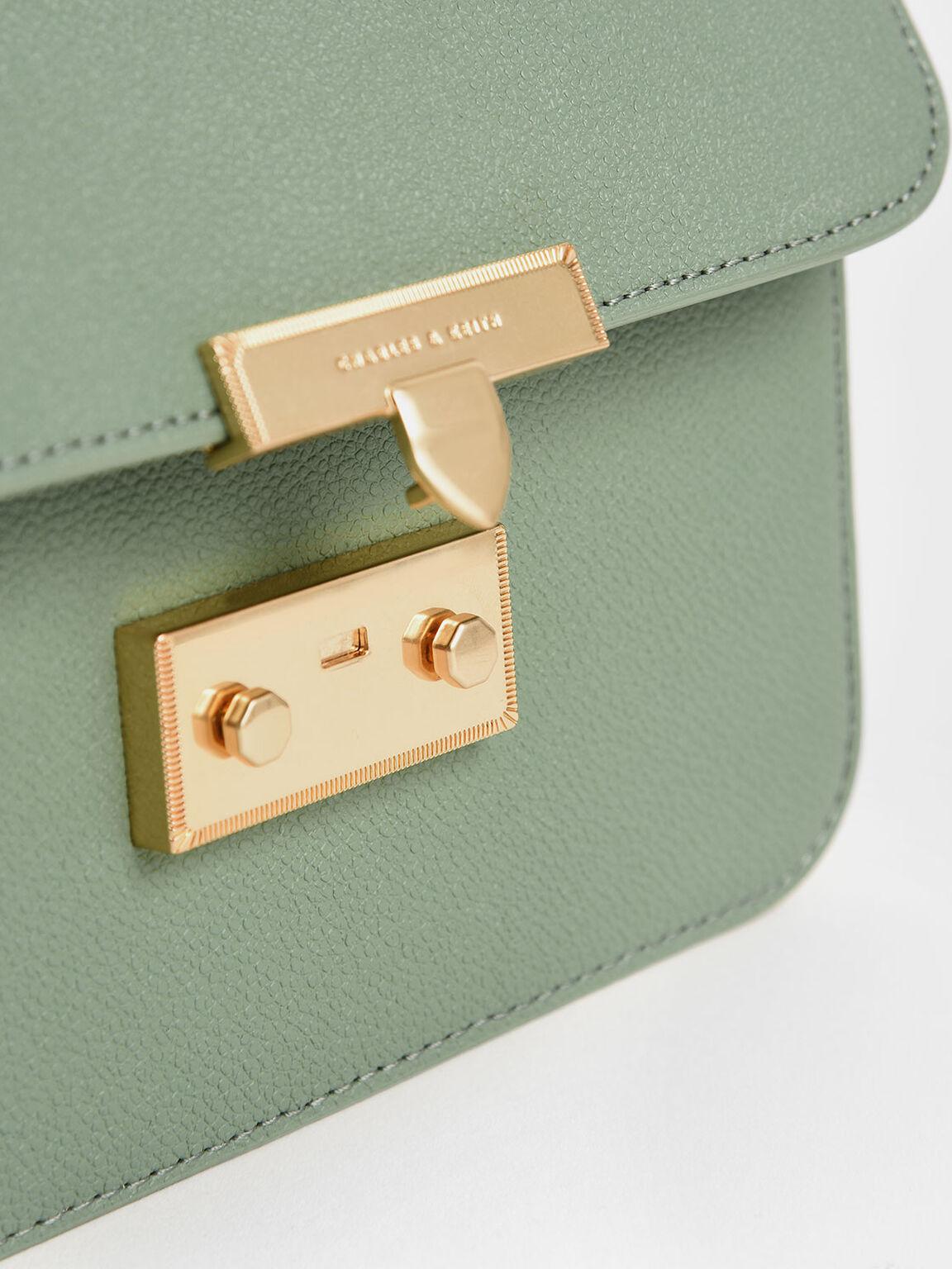 Metallic Push-Lock Evening Bag, Sage Green, hi-res