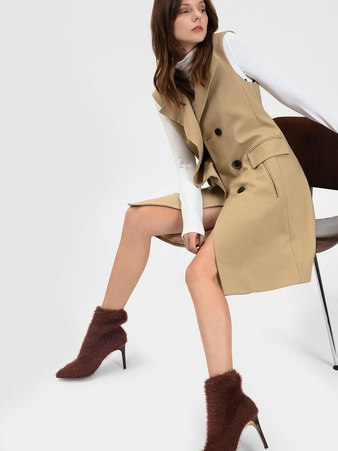 Furry Pointed Boots, Brown, hi-res