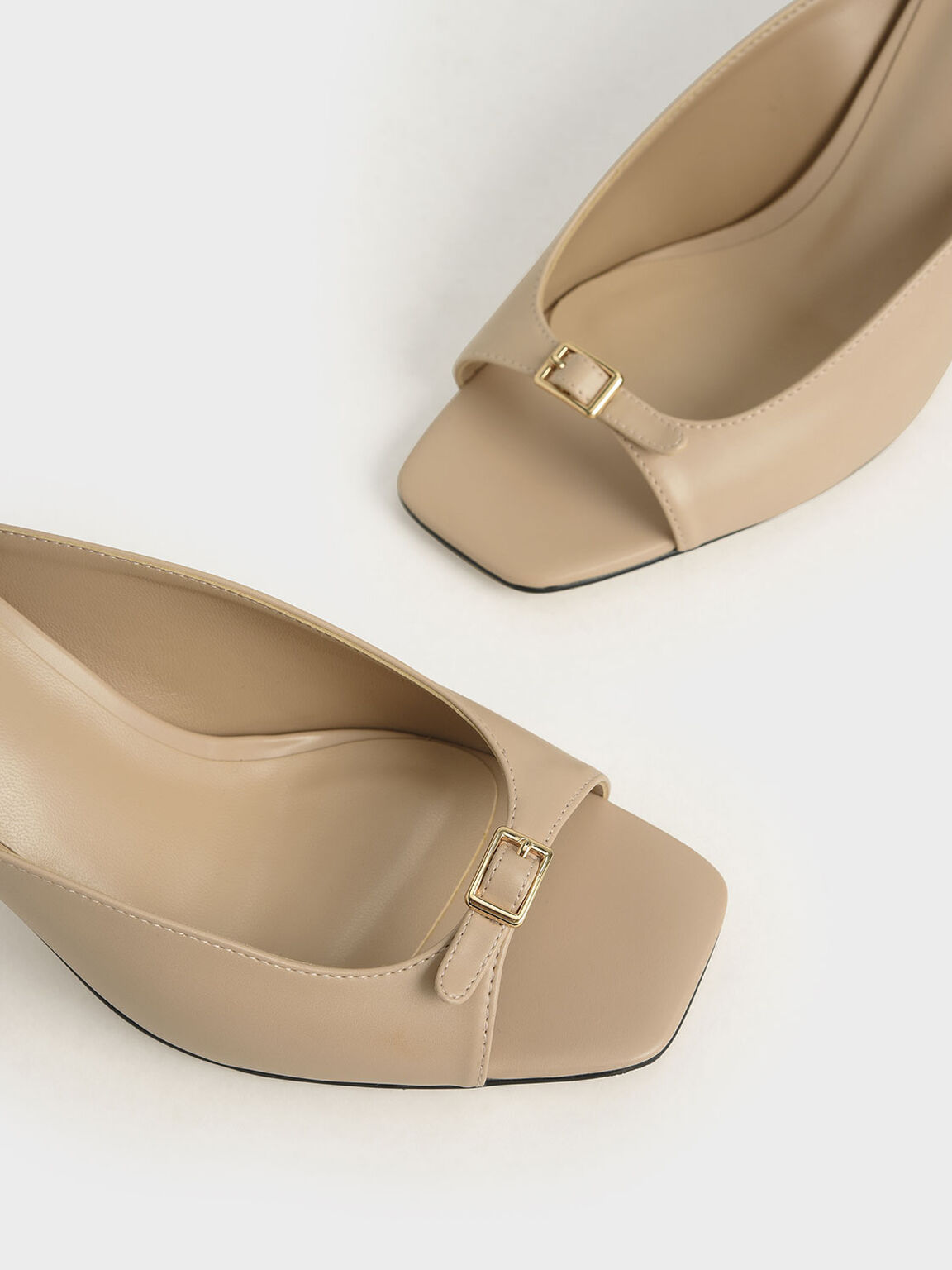 Front Buckle Slingback Mules, Nude, hi-res