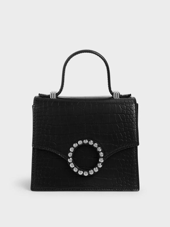 Croc-Effect Embellished-Buckle Bag, Black, hi-res