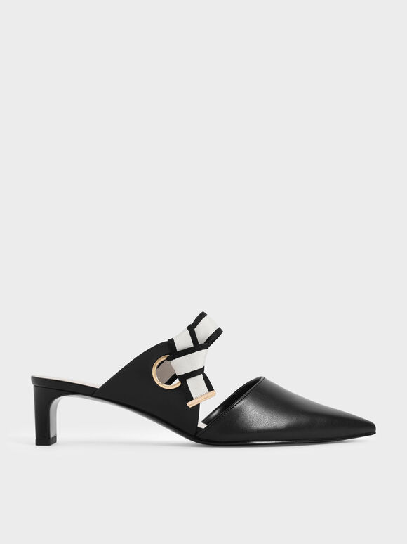 Knotted Fabric Strap Pointed Mules, Black, hi-res