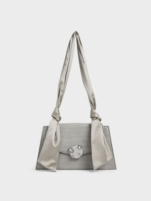 Satin Top Handle Croc-Effect Shoulder Bag, Light Grey, hi-res