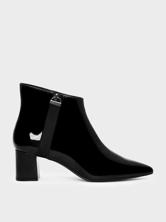 Nylon Strap Detail Pointed Boots, Black, hi-res
