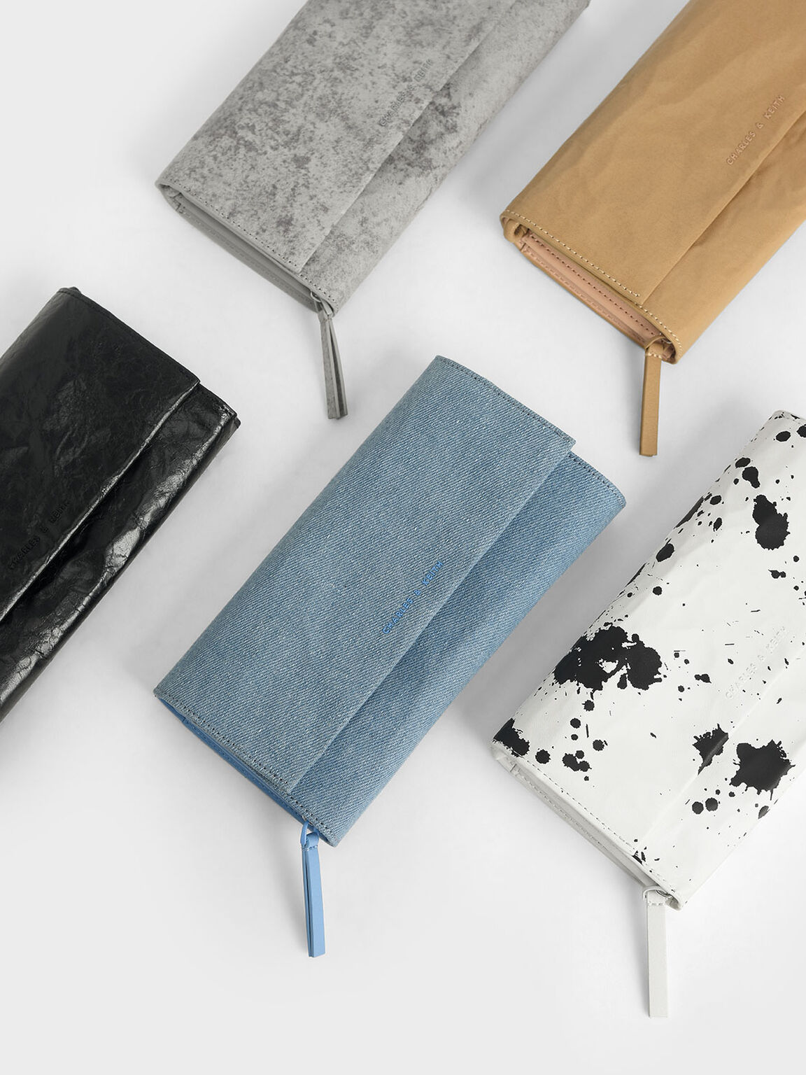 Front Flap Long Wallet, Grey, hi-res