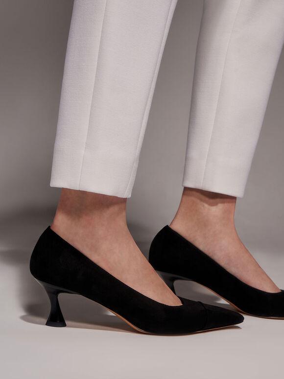 Textured Spool Heel Toe Cap Pumps, Black, hi-res