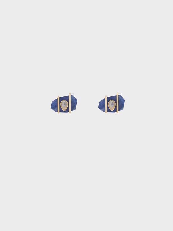 Sodalite & Moonstone Teardrop Stud Earrings, Dark Blue, hi-res
