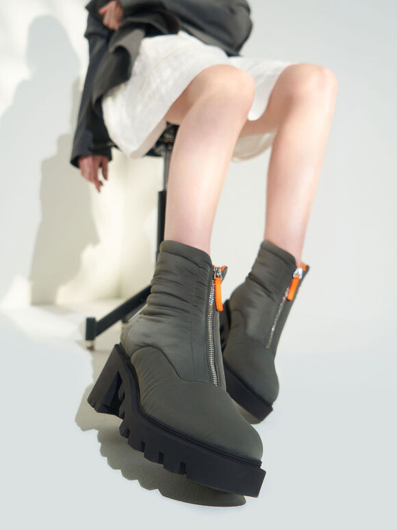 Nylon Front Zip Ankle Boots, Sage Green, hi-res