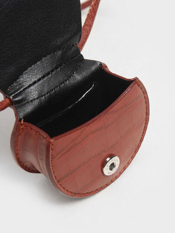 Croc-Effect Necklace Bag, Burgundy, hi-res