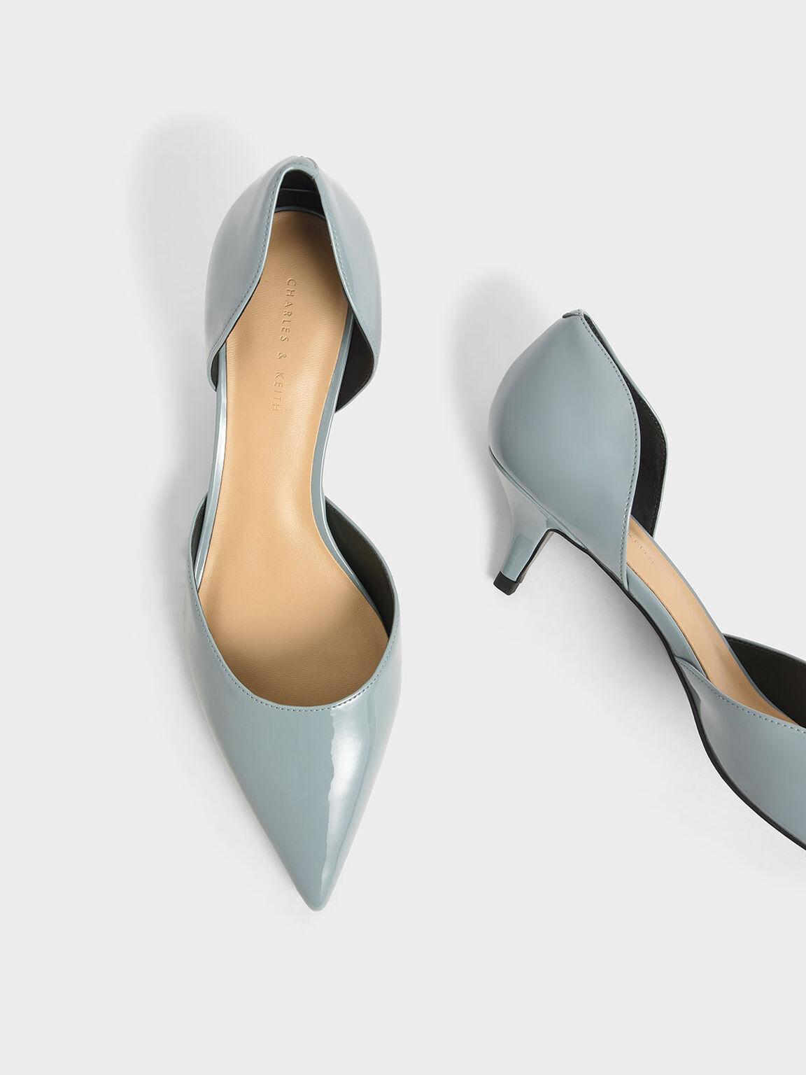 Patent D'Orsay Kitten Heel Pumps, Slate Blue, hi-res
