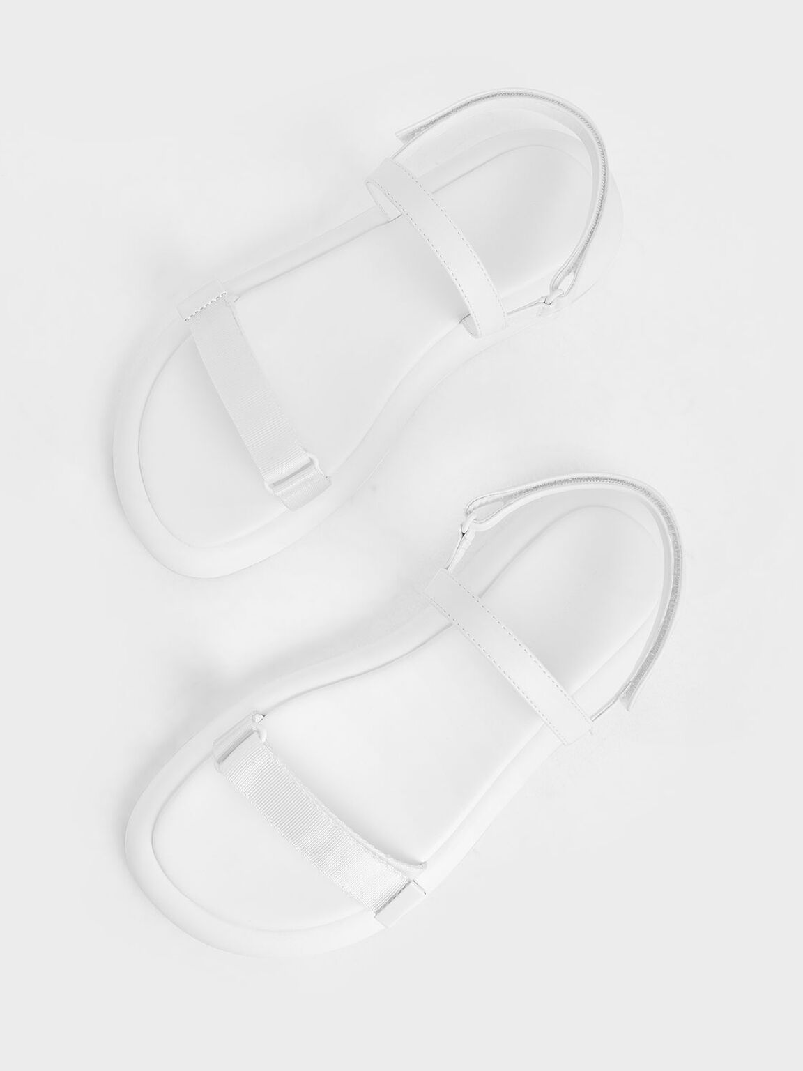 Grosgrain Velcro Strap Sandals, White, hi-res
