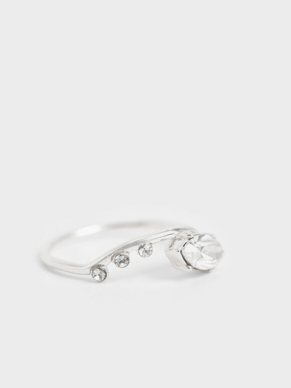Swarovski® Crystal Geometric Ring, Silver, hi-res