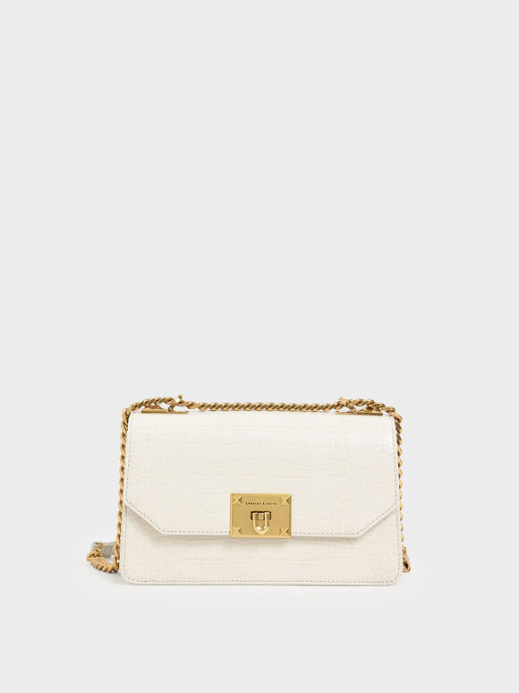 Croc-Effect Chain Strap Crossbody Bag, Cream, hi-res