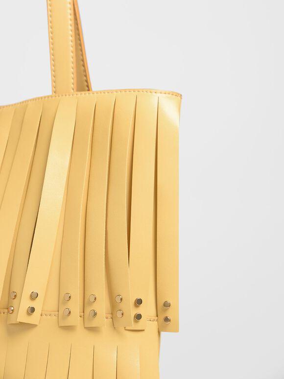 Full Fringe Tote Bag, Yellow, hi-res