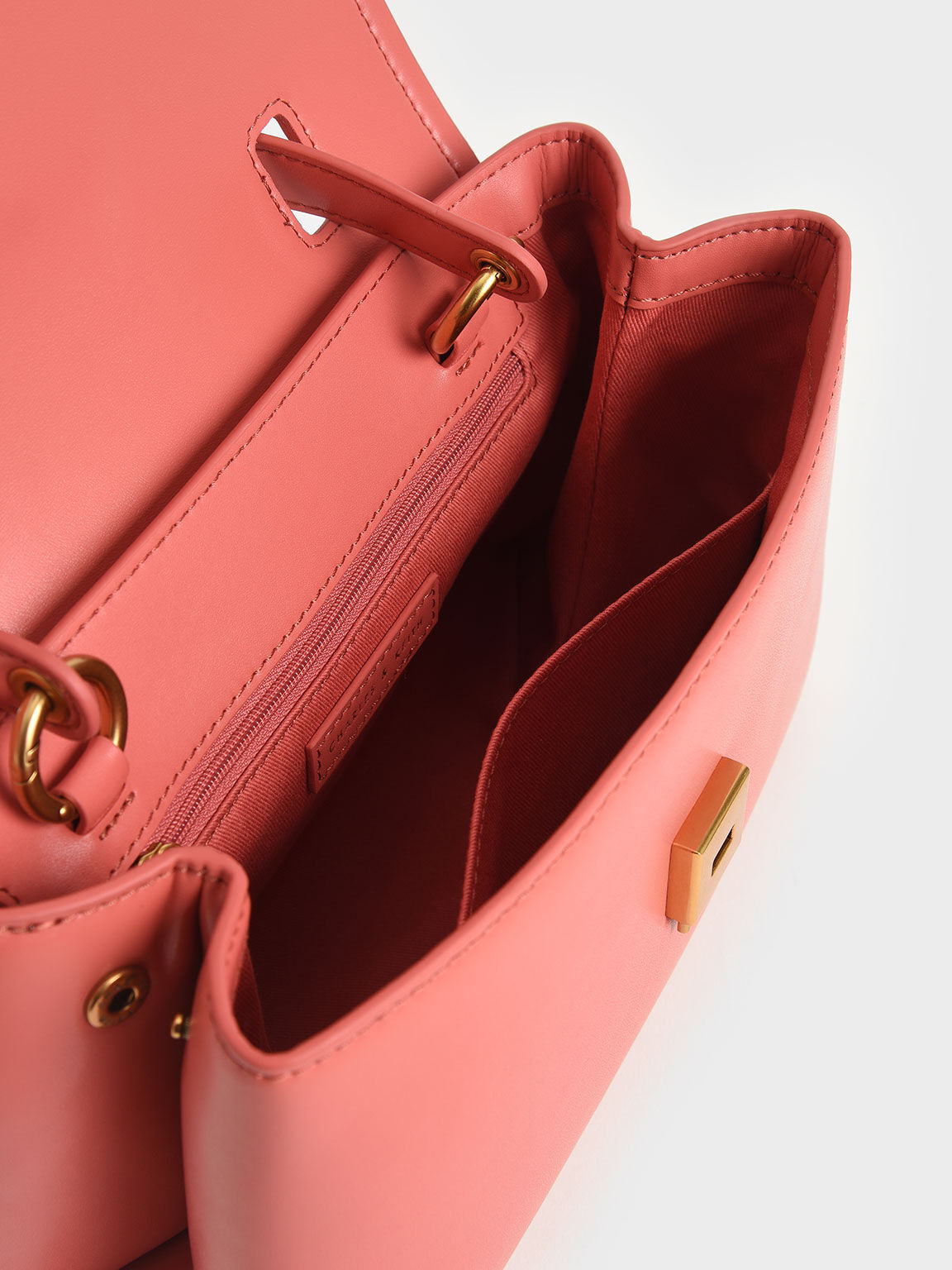 Chain-Embellished Trapeze Top Handle Bag, Coral, hi-res