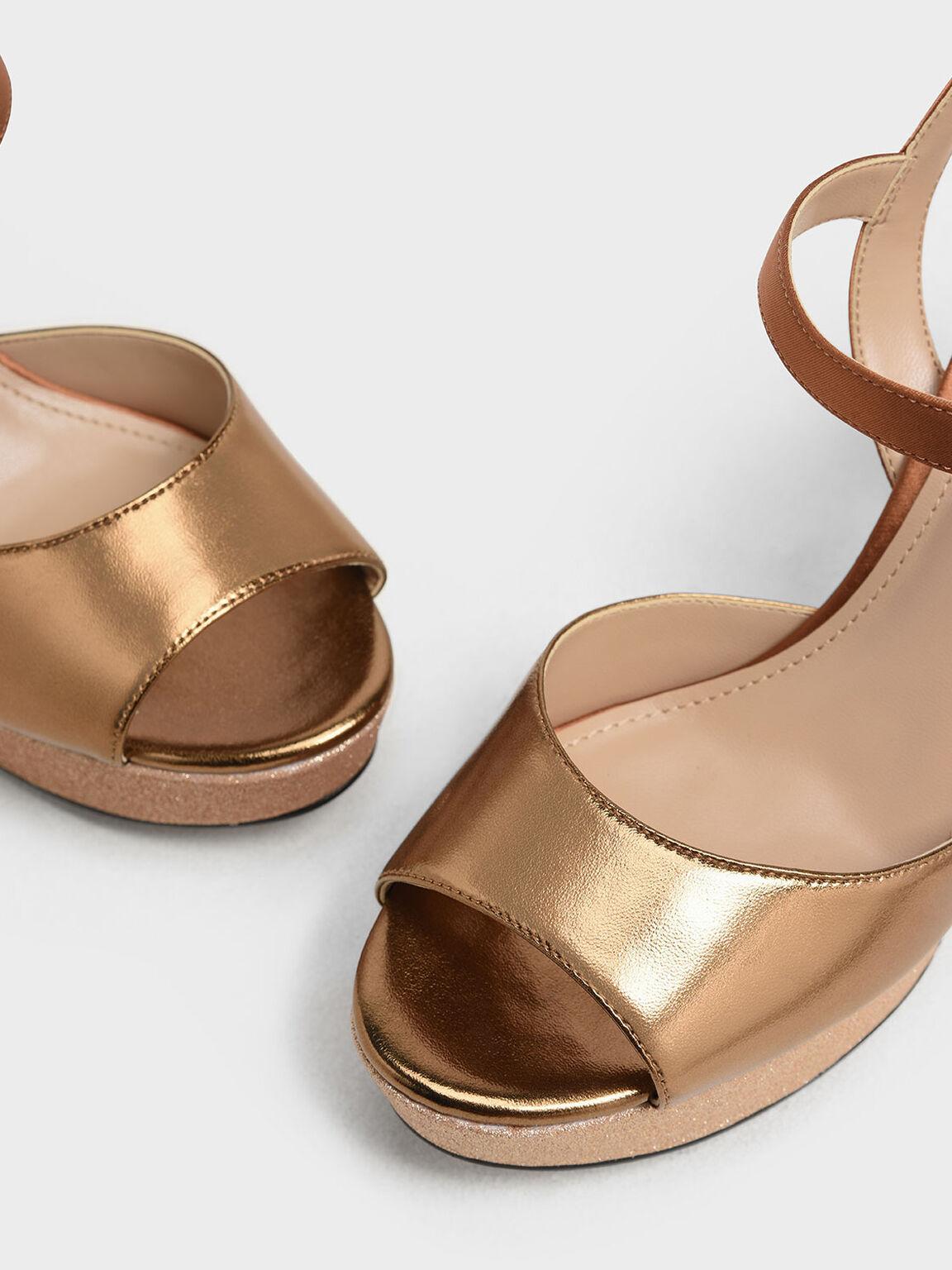 Glitter Platform Heels, Gold, hi-res