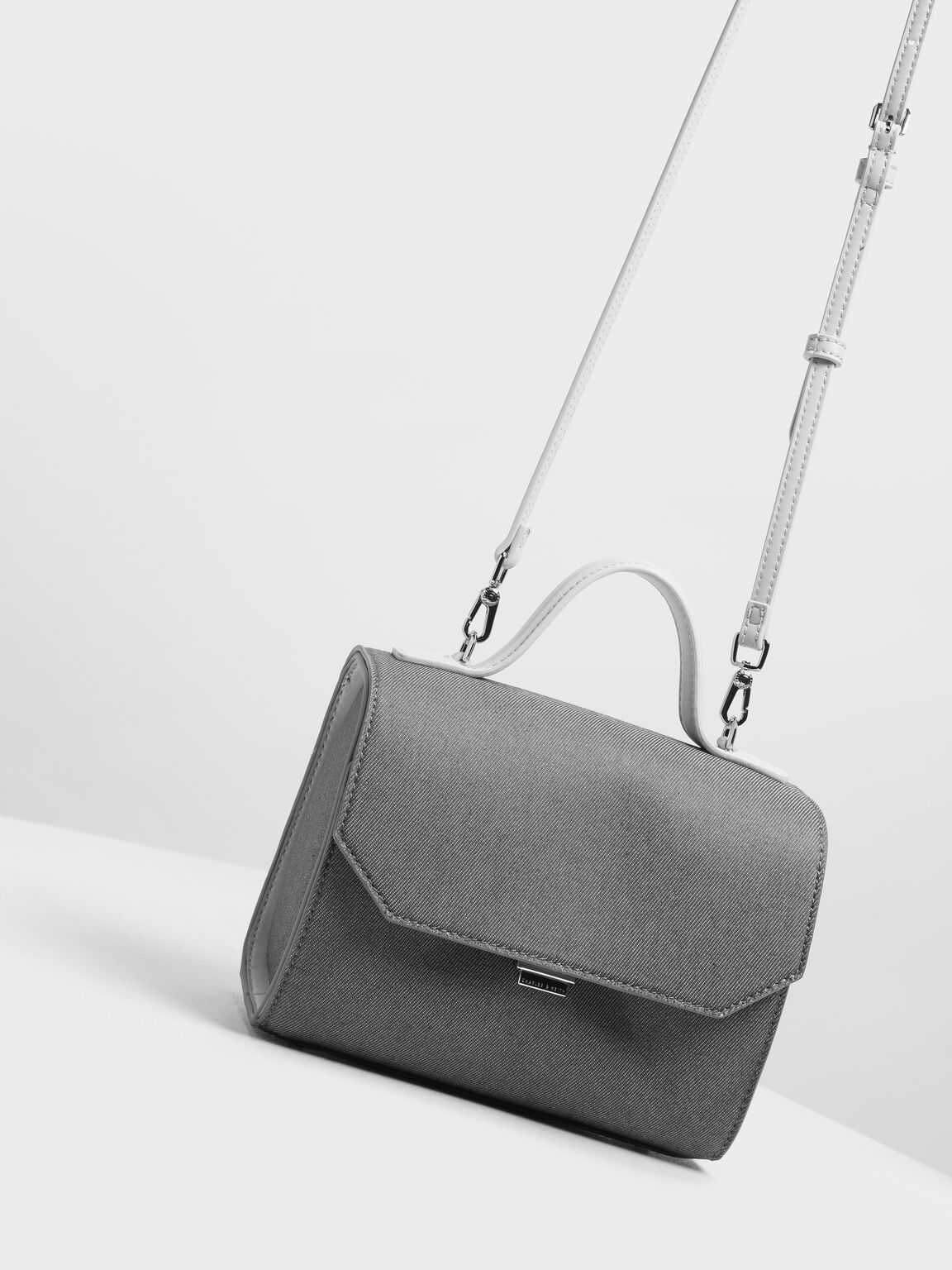 Single Handle Denim Bag, Grey, hi-res