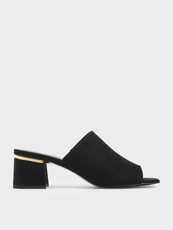 Block Heel Slide Sandals, Black Textured, hi-res