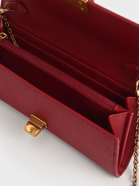 Stone-Embellished Long Wallet, Red, hi-res