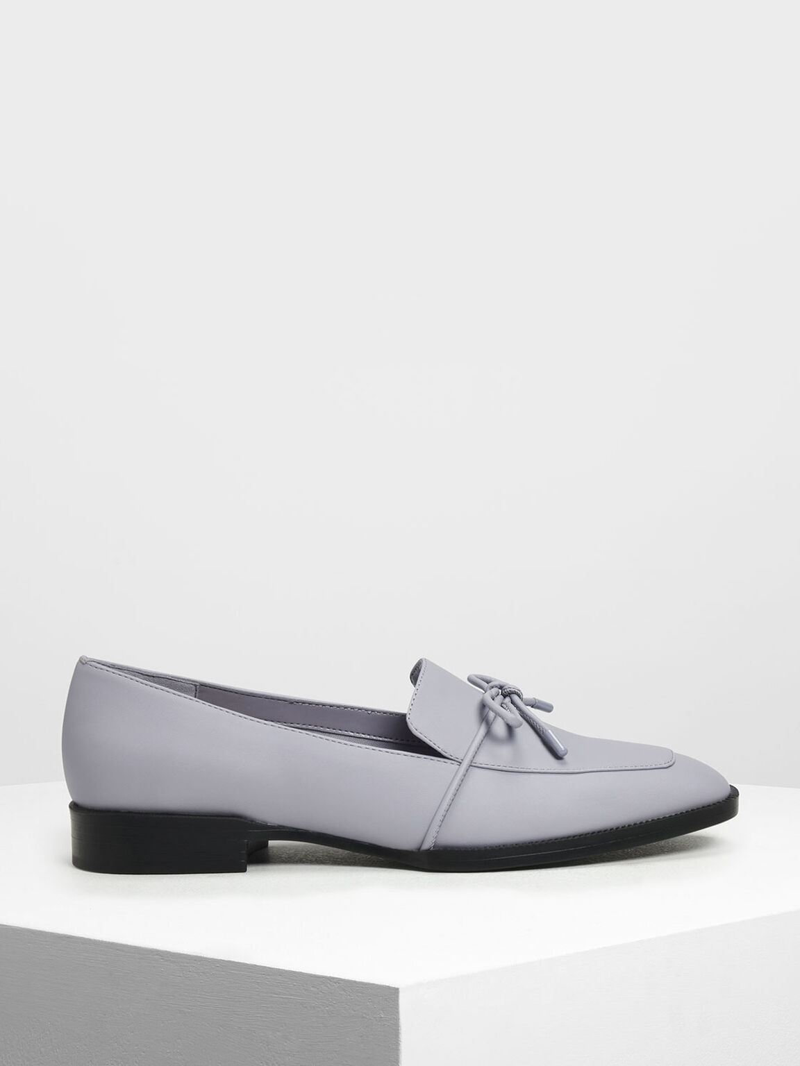 Bow Detail Loafers, Light Grey, hi-res