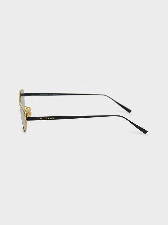 Tinted Cat-Eye Sunglasses, Black, hi-res