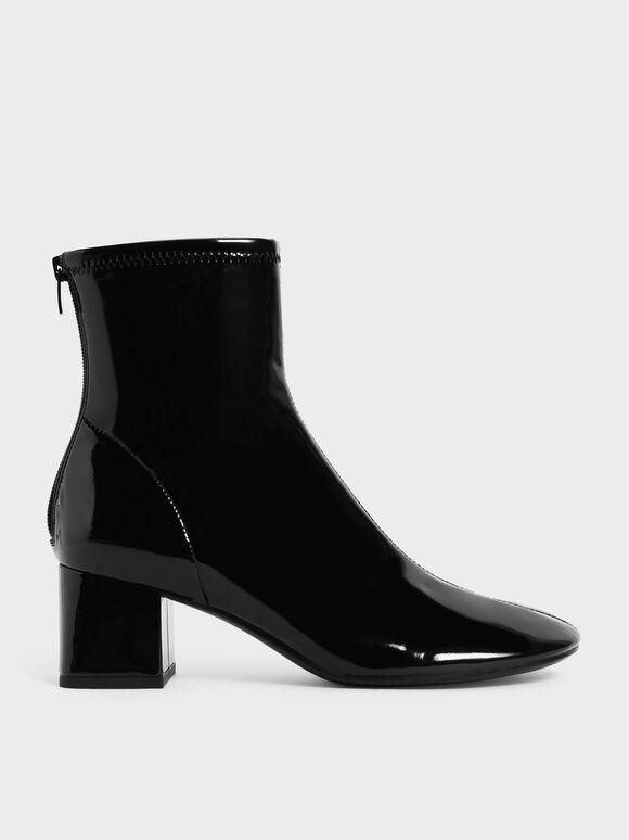 Patent Block Heel Ankle Boots, Black, hi-res