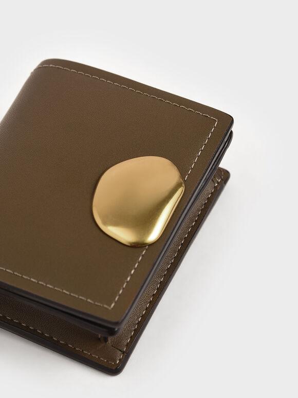 Metallic Accent Snap Button Card Holder, Khaki, hi-res