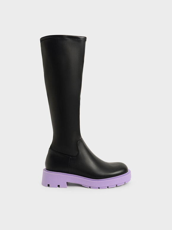 Rhys Coloured Sole Knee-High Boots, Purple, hi-res