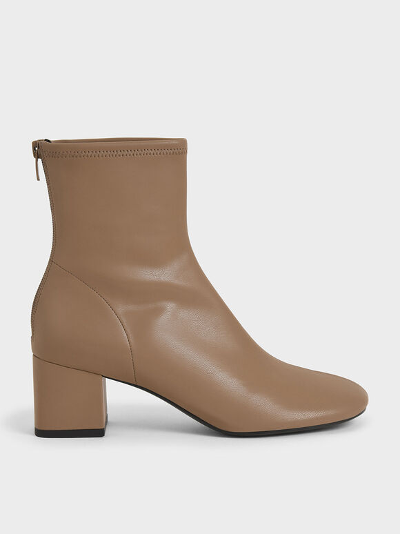 Stitch-Trim Block Heel Ankle Boots, Brown, hi-res