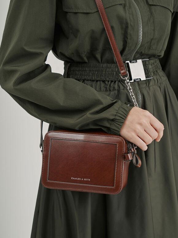 Two-Way Zip Shoulder Bag, Brown, hi-res