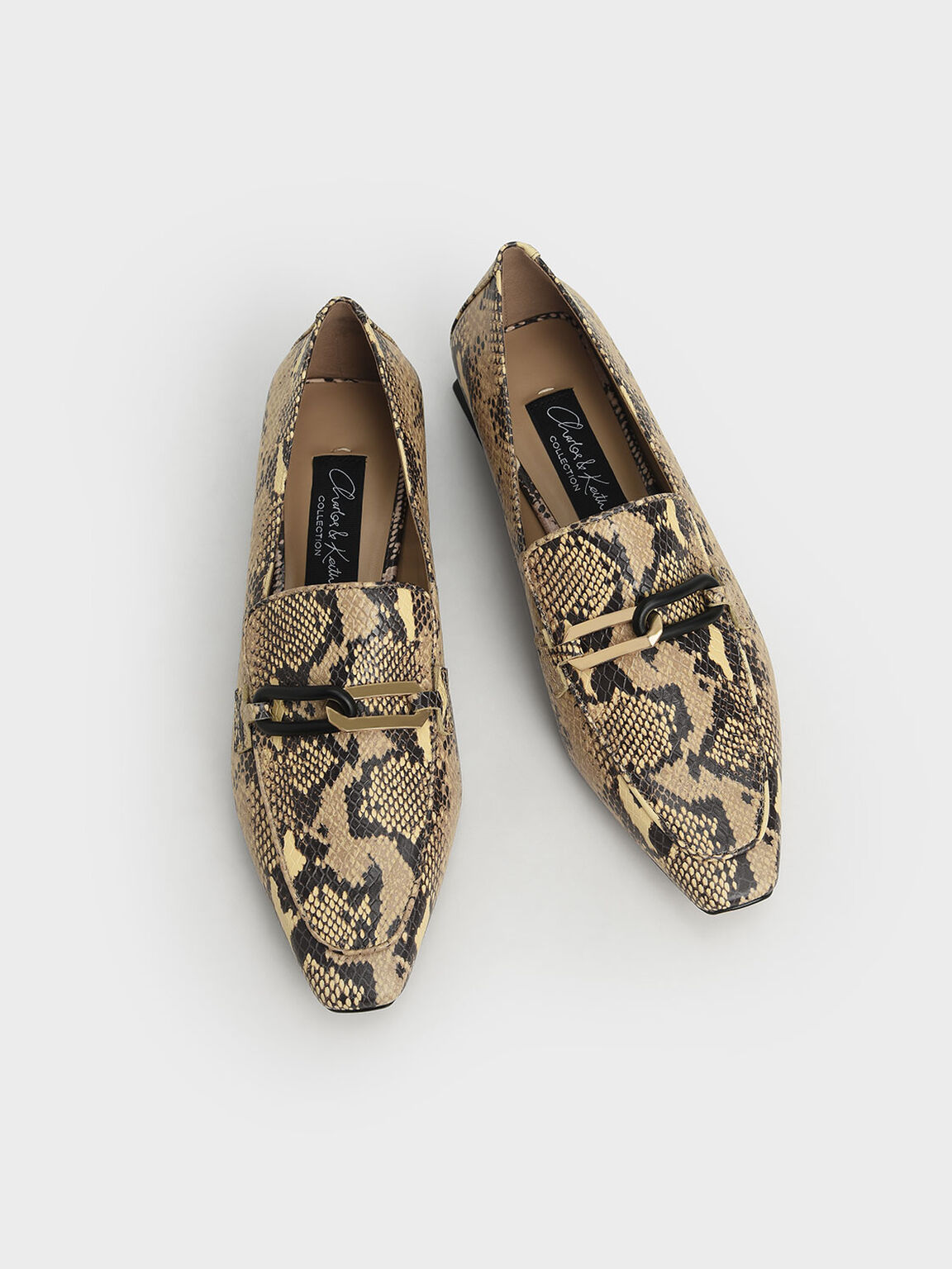 Snake Print Embellished Leather Loafers, Multi, hi-res